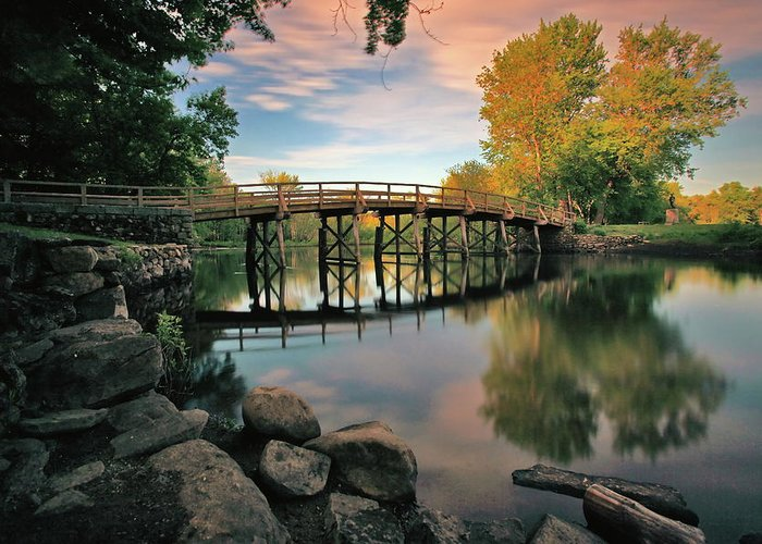 Concord Greeting Card featuring the photograph Old North Bridge by Rick Berk