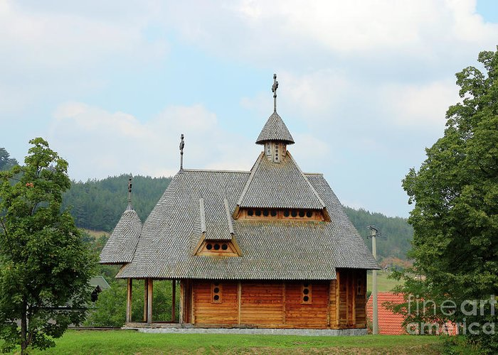 Church Greeting Card featuring the photograph Old Orthodox Wooden Church On Hill by Goce Risteski