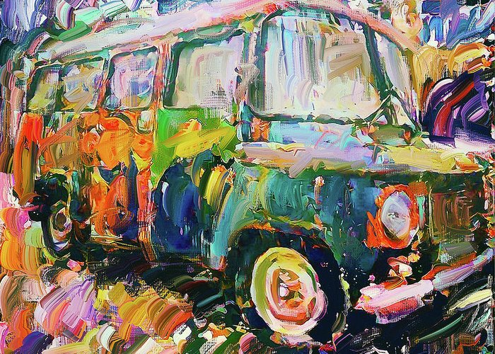 Old Greeting Card featuring the digital art Old Paint Car by Yury Malkov