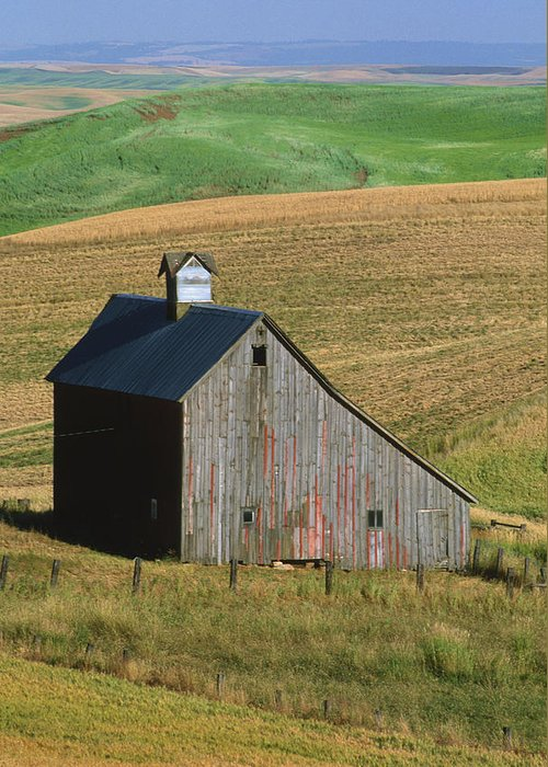 Palouse Greeting Card featuring the photograph Old Palouse Barn by Sandra Bronstein