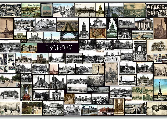 Old Paris Greeting Card featuring the pyrography Old Paris Collage by Janos Kovac