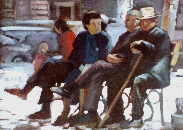 Old People.people Sitting.old People Sitting.pension People .third Age People Greeting Card featuring the painting Old People by George Siaba