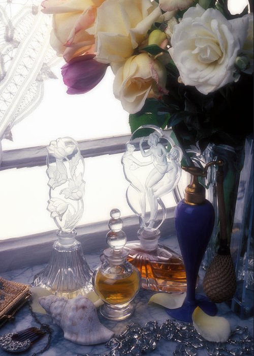 Old Greeting Card featuring the photograph Old Perfume Bottles by Garry Gay