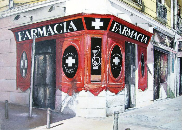 Pharmacy Greeting Card featuring the painting Old Pharmacy by Tomas Castano