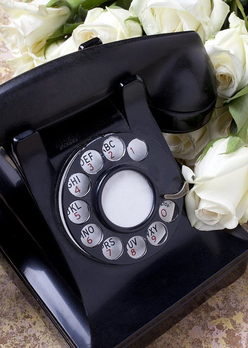 Old Greeting Card featuring the photograph Old Phone And White Roses by Garry Gay