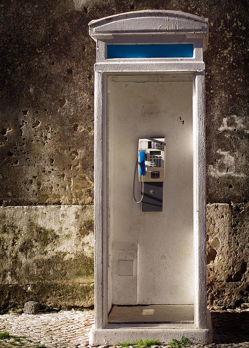 Ancient Greeting Card featuring the photograph Old Phonebooth by Carlos Caetano