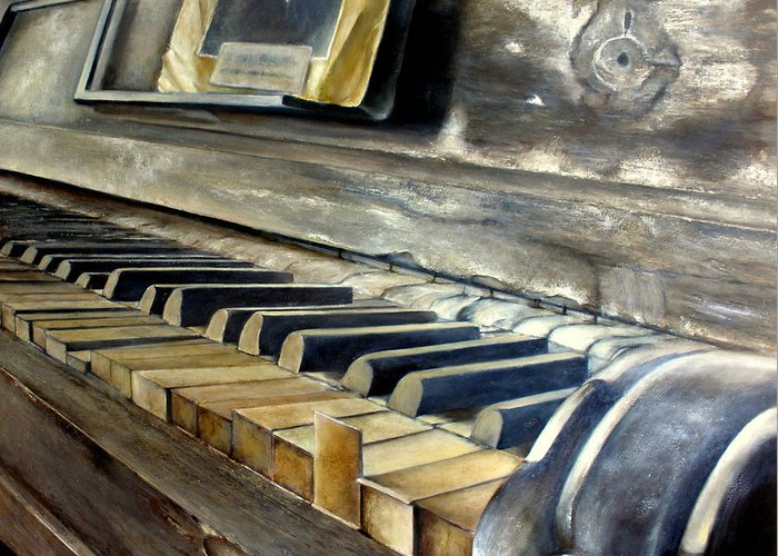 Old Greeting Card featuring the painting Old Piano by Tomas Castano