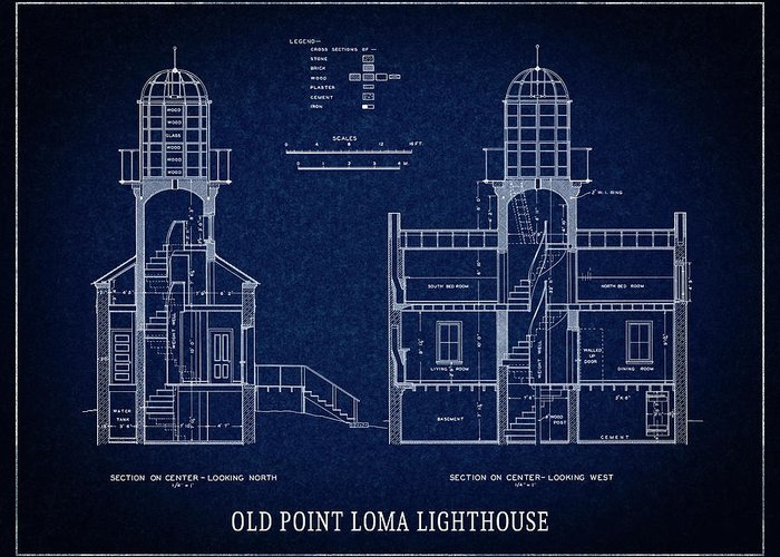 Old point loma lighthouse blueprint san diego greeting card for san diego greeting card featuring the digital art old point loma lighthouse blueprint san diego malvernweather Gallery
