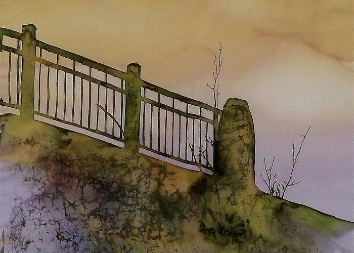 Bridge Greeting Card featuring the tapestry - textile Old Railroad Bridge II by Carolyn Doe