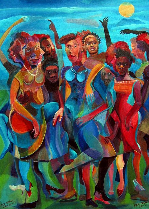 Figures Greeting Card featuring the painting Old Rhythms New Beats by Joyce Owens