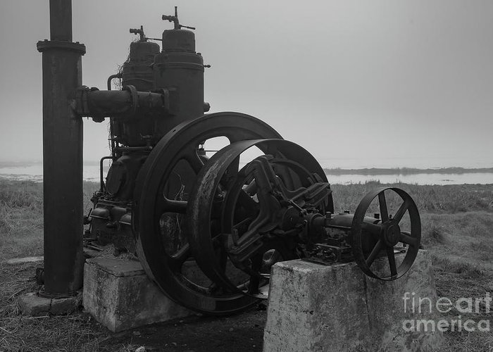 Arkansas Greeting Card featuring the photograph Old Rice Field Pump Bw by George Lehmann