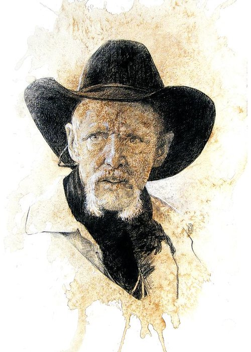 Cowboy Art Greeting Card featuring the drawing Old Rider by Debra Jones