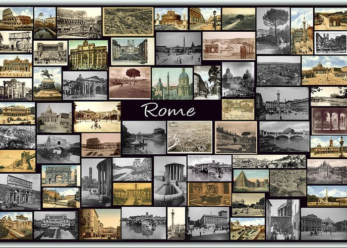 Rome Greeting Card featuring the photograph Old Rome Collage by Janos Kovac