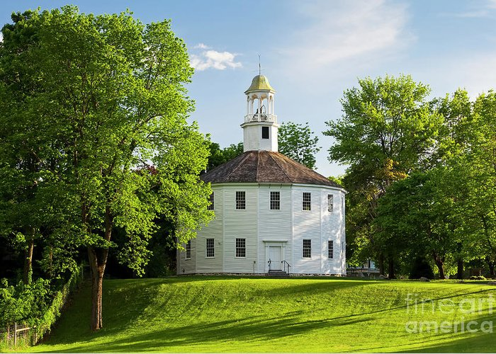 Spring Greeting Card featuring the photograph Old Round Church Spring by Alan L Graham