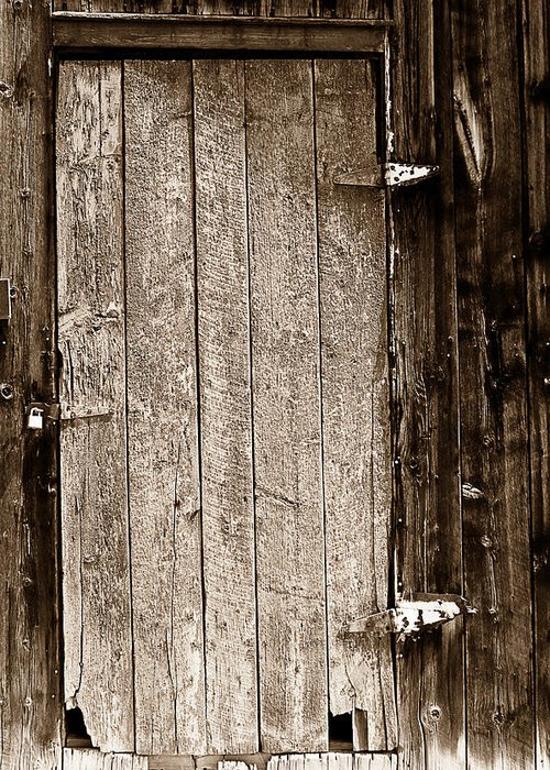 Old Greeting Card featuring the photograph Old Rustic Black And White Barn Woord Door by James BO Insogna