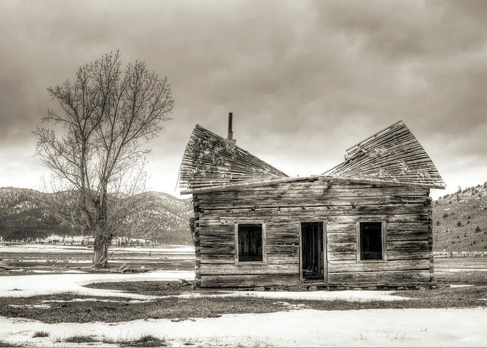 Old Greeting Card featuring the photograph Old Rustic Log Cabin In The Snow by Dustin K Ryan