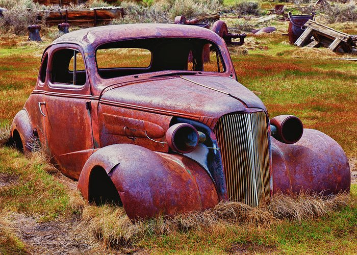 Car Greeting Card featuring the photograph Old Rusty Car Bodie Ghost Town by Garry Gay