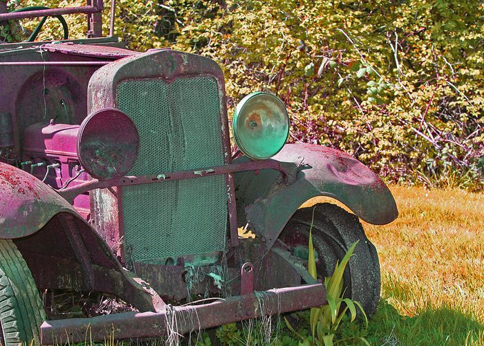 Old Truck Greeting Card featuring the photograph Old Rusty Truck C1002 by Mary Gaines