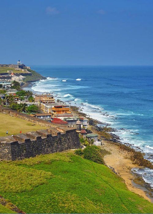 Ocean Greeting Card featuring the photograph Old San Juan Coastline by Stephen Anderson