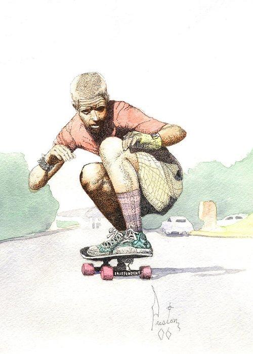 Duane Peters Skateboard Art Old School Nhs Santa Cruz Punk Skater Skateboarder Thrasher Greeting Card featuring the painting Old School Skater by Preston Shupp
