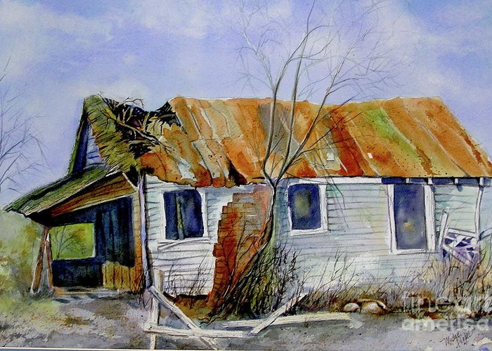 Shack Greeting Card featuring the painting Old Shack On Manatee by Midge Pippel