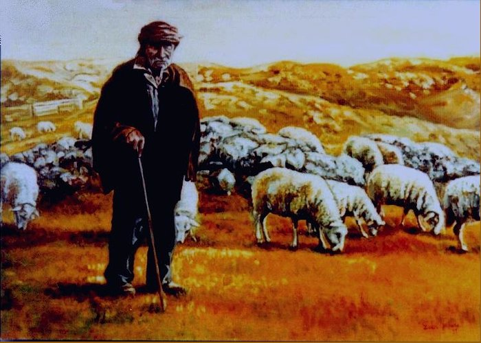 Mt. Peshter Greeting Card featuring the painting Old Shepard From Mt. Peshter by Gordana Dokic Segedin
