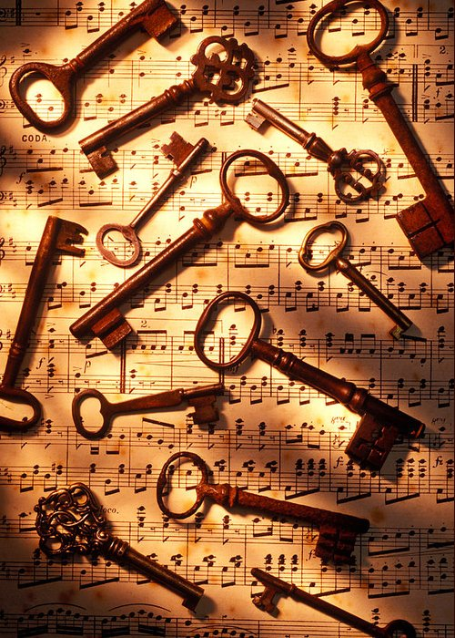 Key Greeting Card featuring the photograph Old Skeleton Keys On Sheet Music by Garry Gay