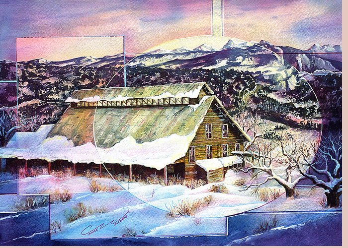 Barn Greeting Card featuring the painting Old Stelty Packing Shed by Connie Williams