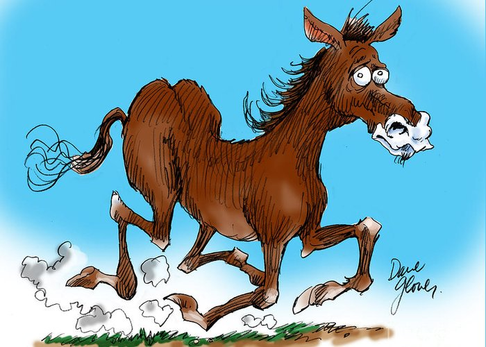 Funny Horse Greeting Card featuring the drawing Old Swayback by David Lloyd Glover