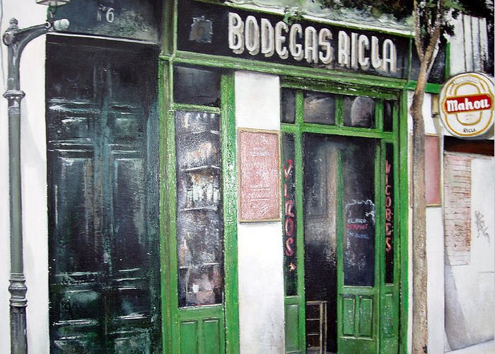Bodegas Greeting Card featuring the painting Old Tavern-Madrid by Tomas Castano