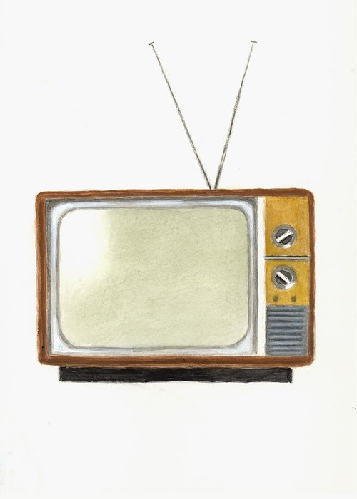 Television Paintings Greeting Cards