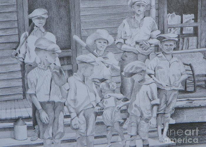 Landscape Greeting Card featuring the drawing Old Time Baseball by David Ackerson