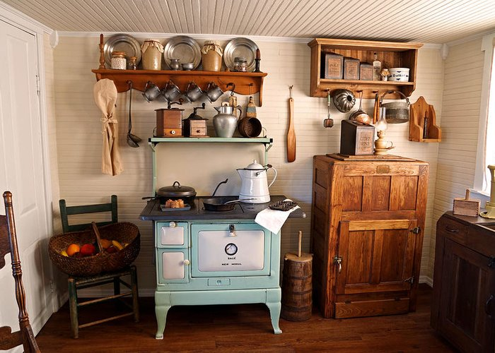 Wooden Ice Box Greeting Card Featuring The Photograph Old Time Farmhouse Kitchen By Carmen Del Valle