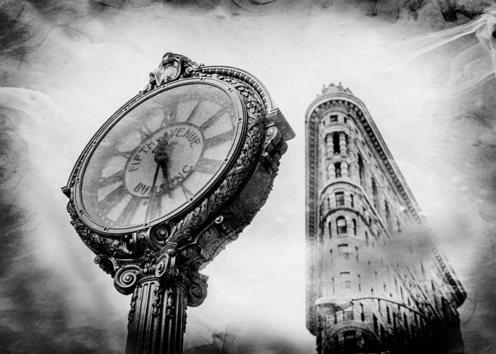 Flatiron Building Greeting Card featuring the photograph Old Time's Sake by Az Jackson