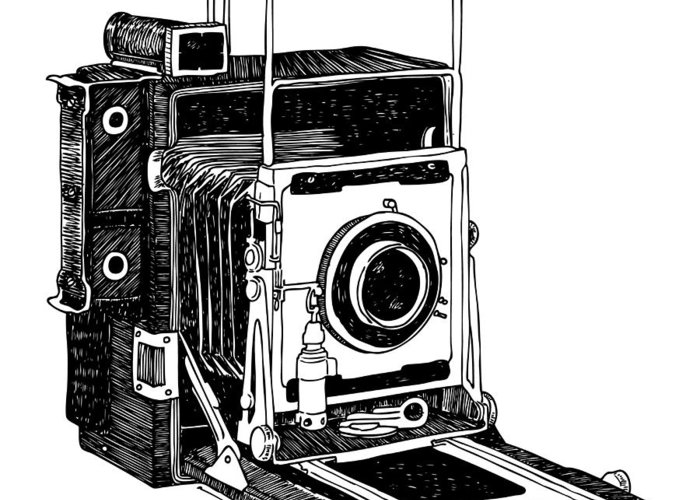 Drawing Greeting Card featuring the drawing Old Timey Vintage Camera by Karl Addison