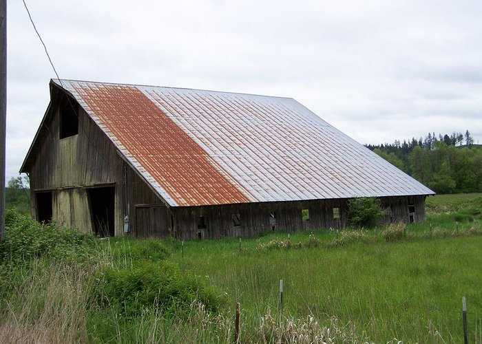 Barn Greeting Card featuring the photograph Old Tin Roof Barn Washington State by Laurie Kidd