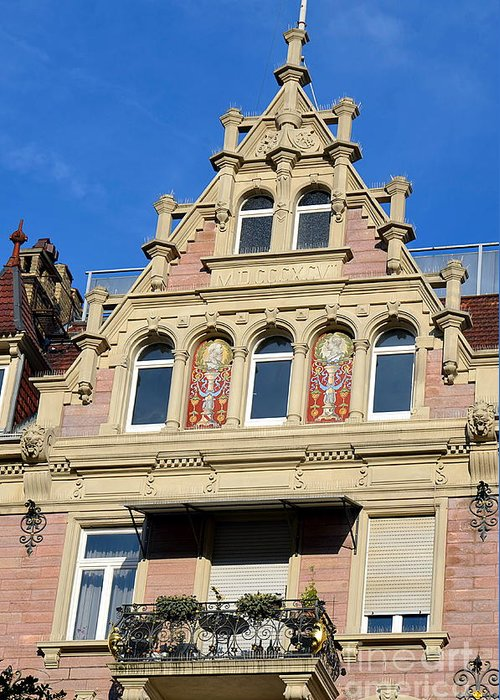 Facade Greeting Card featuring the photograph Old Town House Facade In Baden-baden by Elzbieta Fazel