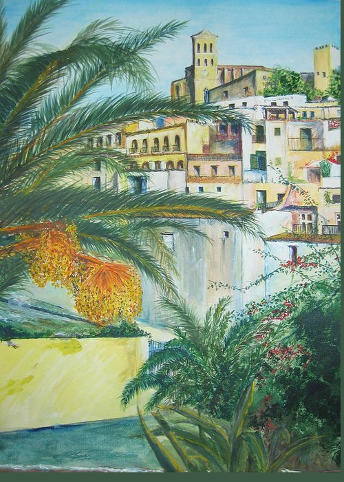 Ibiza Old Town Greeting Card featuring the painting Old Town Ibiza by Lizzy Forrester