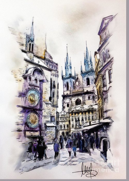 Town Square Mixed Media Greeting Cards