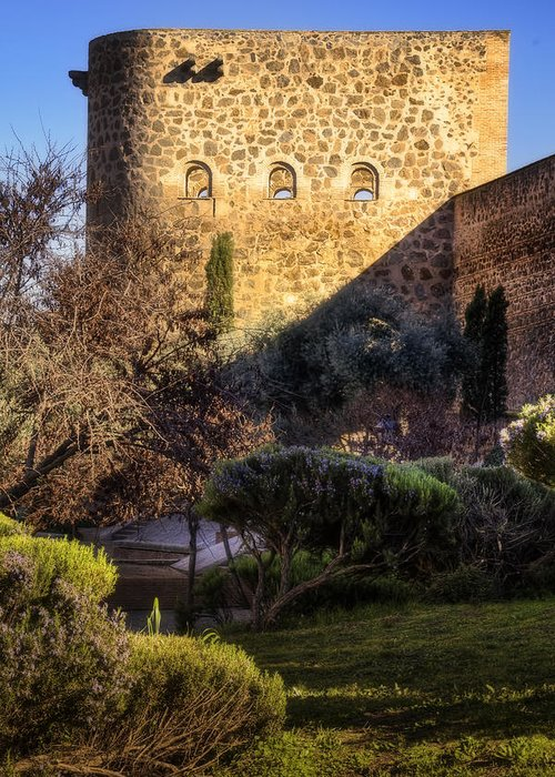 Ancient Greeting Card featuring the photograph Old Town Walls Toledo Spain by Joan Carroll