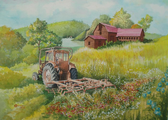 Tractor Greeting Card featuring the painting Old Tractor In Hungary Galgaguta by Charles Hetenyi