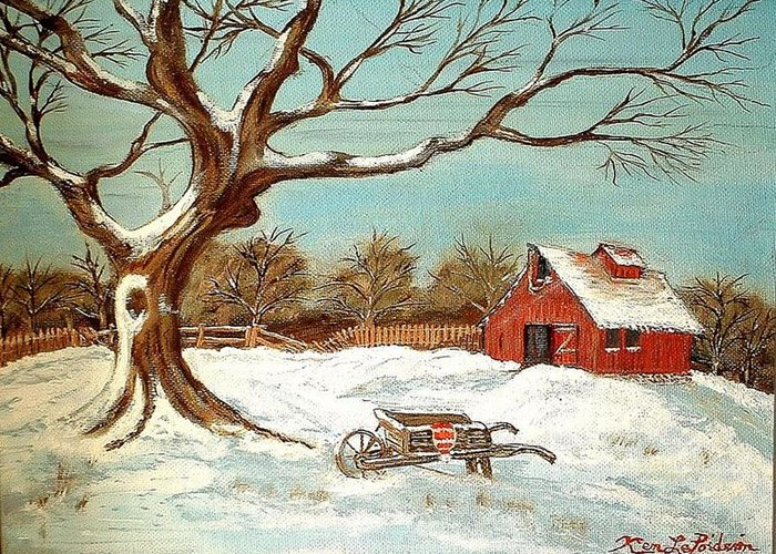 Old Tree Barn Wheelbarrow Snow Winter Painting Greeting Card featuring the painting Old Tree And Barn by Kenneth LePoidevin