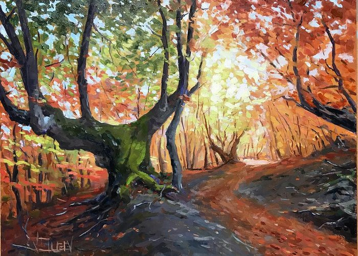 Landscape Greeting Card featuring the painting Old Tree by Vlad Duchev