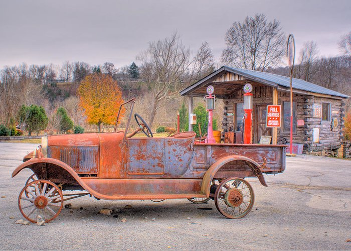 Old Greeting Card featuring the photograph Old Truck And Gas Filling Station by Douglas Barnett