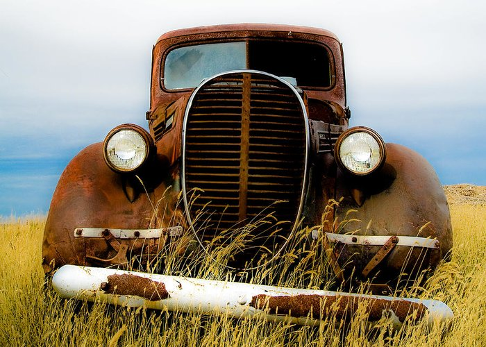 Old Truck Greeting Card featuring the photograph Old Truck In Field by Emilio Lovisa