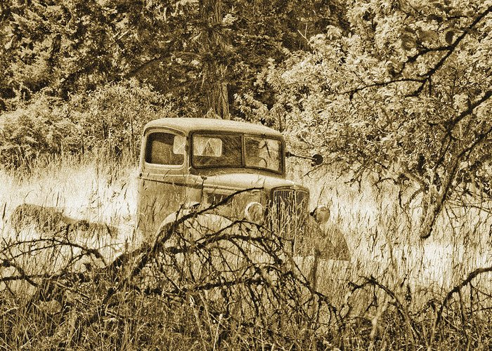 Vintage Greeting Card featuring the photograph Old Truck by Linda McRae