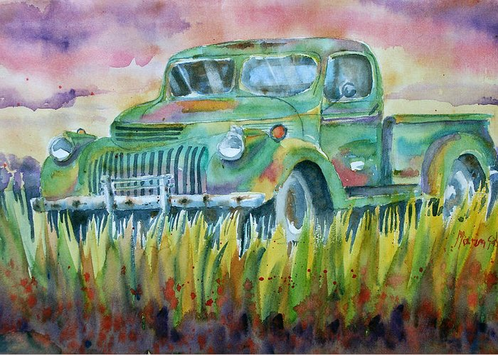 Watercolor Greeting Card featuring the painting Old Truck by Marisa Gabetta