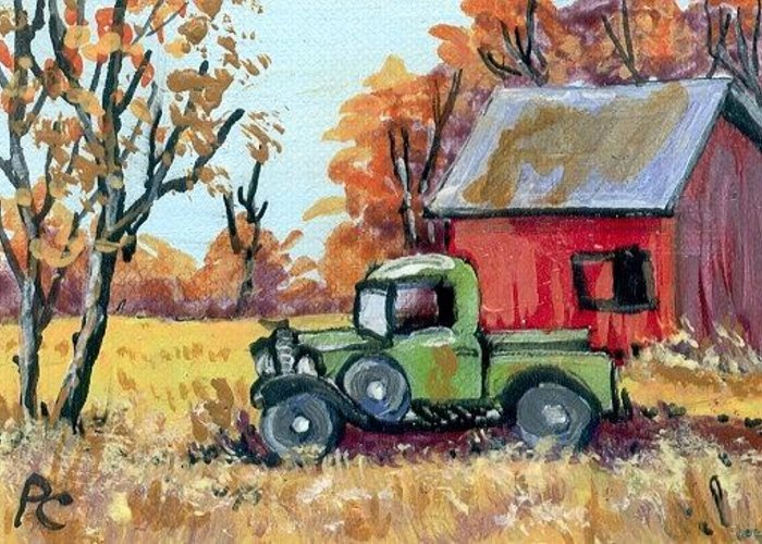 Miniature Greeting Card featuring the painting Old Truck by Peggy Conyers