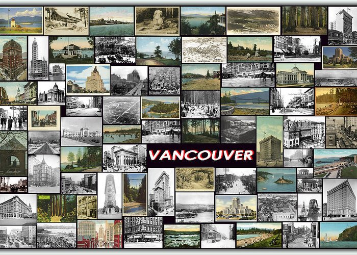 Vancouver Greeting Card featuring the pyrography Old Vancouver Collage by Janos Kovac