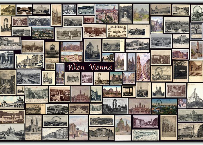 Wien Greeting Card featuring the pyrography Old Vienna Collage by Janos Kovac